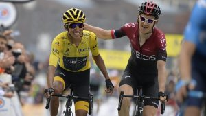 27 July 2019, France, Albertville: Colombian Egan Bernal of Team Ineos and British Geraint Thomas of Team Ineos pictured during the arrival of stage 20 of the 106th edition of the Tour de France cycling race, 59.00 km from Albertville to Thorens. Photo: Yorick Jansens/BELGA/dpa